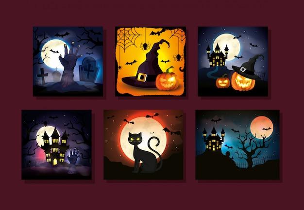 Kaarten met halloween-scènes instellen Gratis Vector