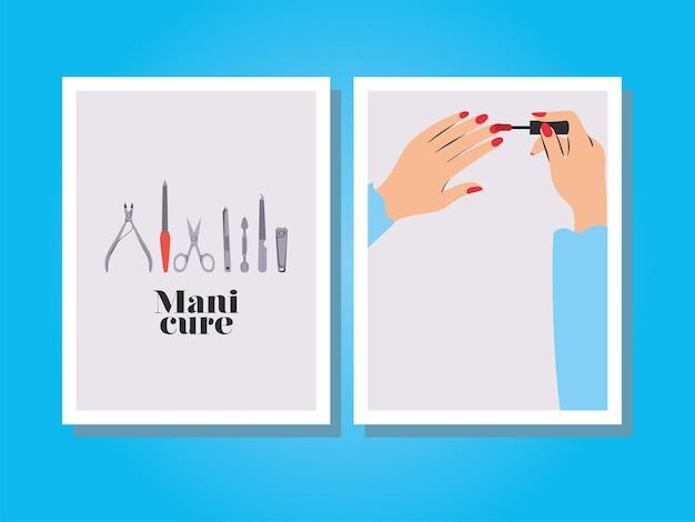 Kaarten met manicure-letters, handen die hun nagels lakken met een rode lak en een set manicure Premium Vector