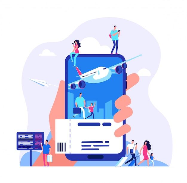 Kaartjes kopen met smartphone. mensen boeken vliegtuig of trein reizen illustratie Premium Vector