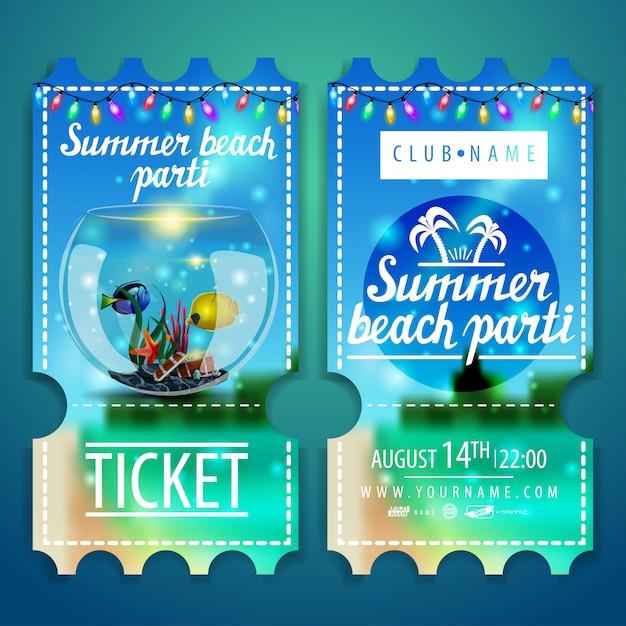 Kaartjes voor een strandfeest met een prachtig zomerlandschap Premium Vector