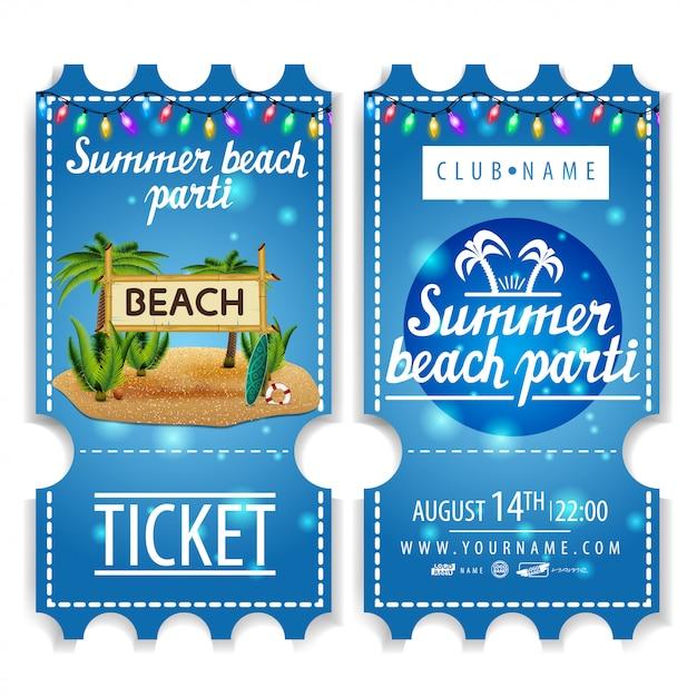Kaartjes voor het zomerstrandfeest Premium Vector