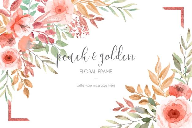 Kaartsjabloon met perzik en gouden bloemen en bladeren Gratis Vector