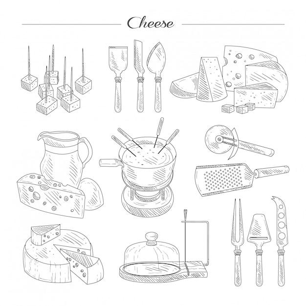Kaas- en snijgereedschappen. sketch set. Premium Vector