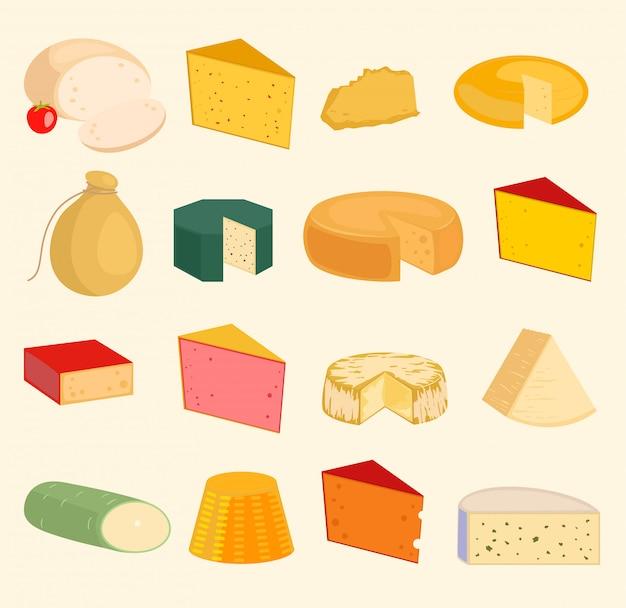 Kaas plakjes vrede verscheidenheid iconen cartoon set geïsoleerde illustratie. melkkaas variëteiten voedsel en melk camembert. verschillende delicatessen gouda kaas mozzarella, tofu. parmezaanse kaas Premium Vector