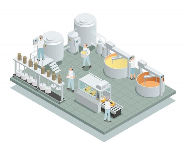 Kaasproductie fabriek isometrische samenstelling Gratis Vector