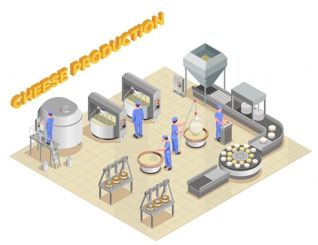 Kaasproductie isometrische samenstelling met elementen van fabrieksapparatuur en personeel dat werkt in het productieproces Gratis Vector