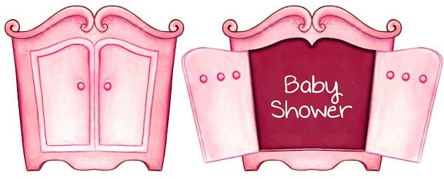 Kabinet van de de uitnodigingskaart van het waterverf het roze baby shower Premium Vector