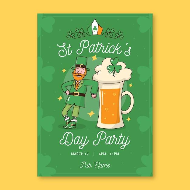 Kabouter dansen en pint bier st. patrick's dag Gratis Vector