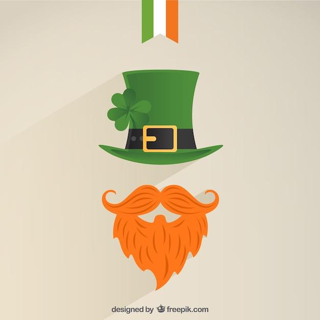 Kabouter icoon met een groene hoed en bossig rode baard Gratis Vector