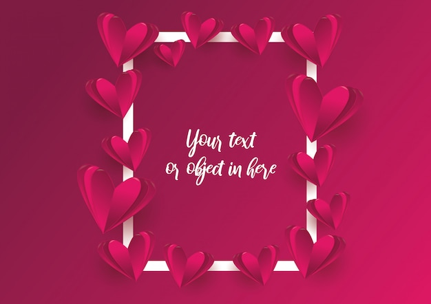 Kaderachtergrond van liefde en valentijnskaartdag Premium Vector