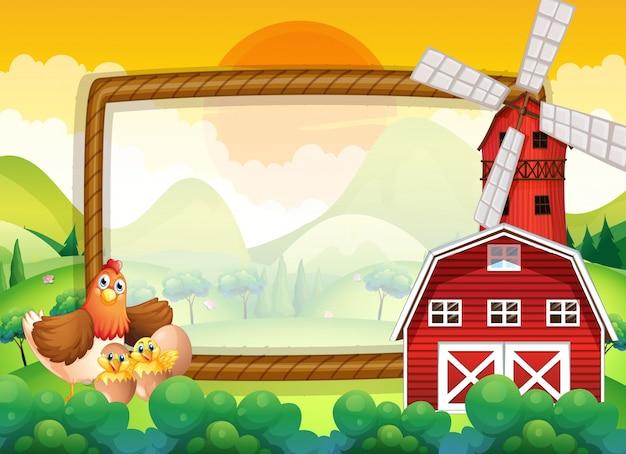 Kadermalplaatje met kippen in de boerderij Gratis Vector