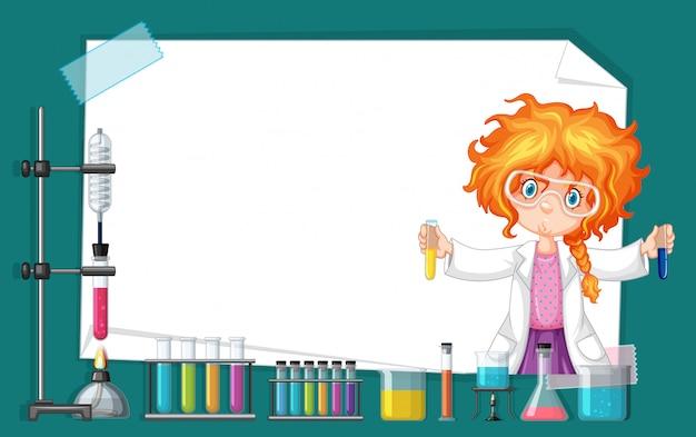 Kaderontwerp met meisje die in wetenschapslaboratorium werken Gratis Vector