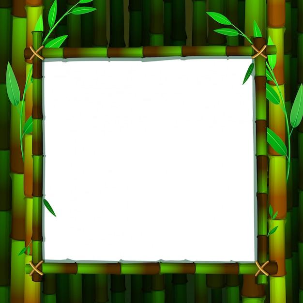 Kadersjabloon met groen bamboe Gratis Vector