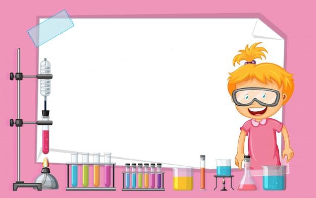 Kadersjabloon met meisje die in wetenschapslaboratorium werken Gratis Vector