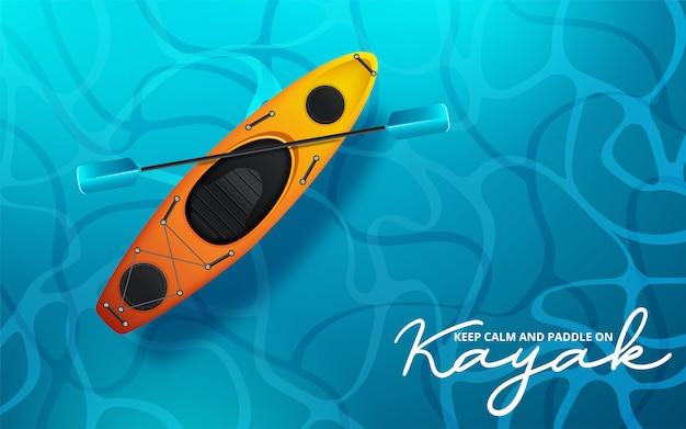 Kajak vectorillustratie, kajakken watersport Premium Vector