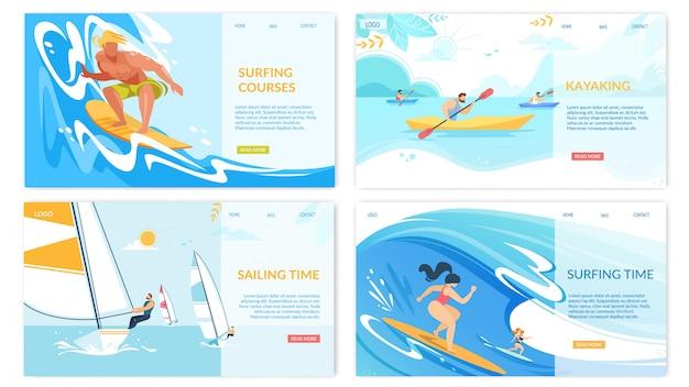 Kajakken water sportactiviteiten horizontale banners set Premium Vector