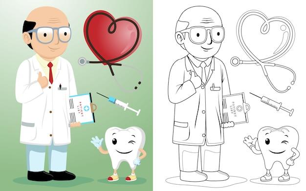 Kale geleide tandarts cartoon met arts apparatuur Premium Vector