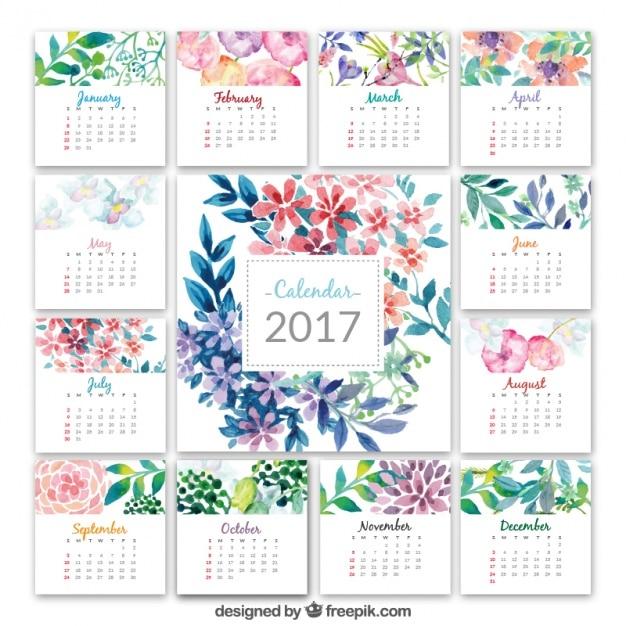 Kalender 2017 met waterverf bloemen Gratis Vector