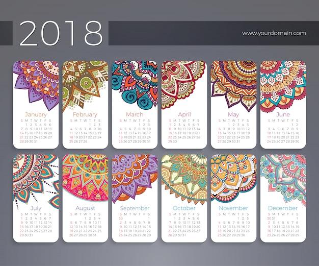 Kalender 2018. Vintage decoratieve elementen Gratis Vector