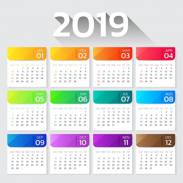 Kalender 2019 jaar kleurrijke kleurovergangsmalplaatje. Premium Vector