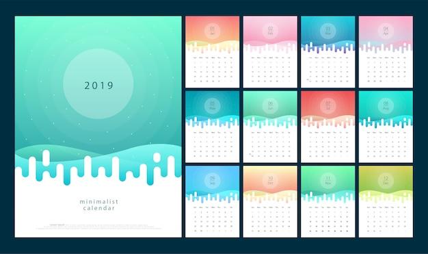 Kalender 2019 trendy verlopen met pastelkleurstijl Premium Vector