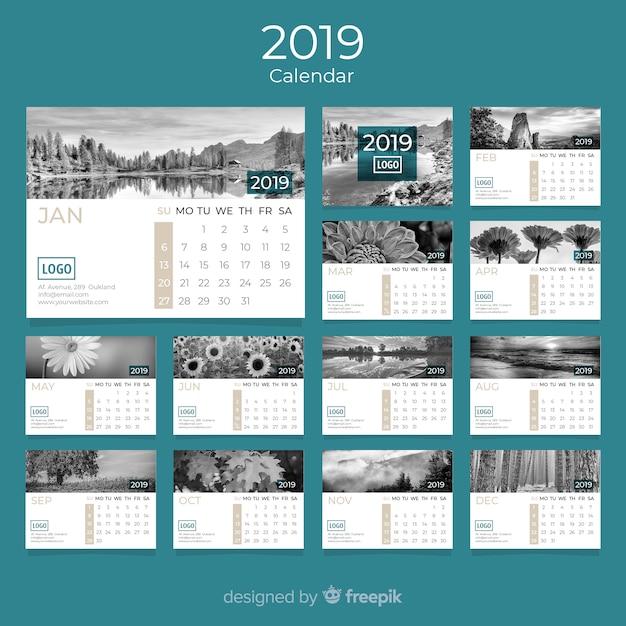 Kalender 2019 Gratis Vector