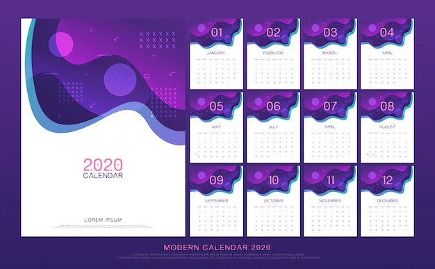 Kalender 2020 abstract Premium Vector