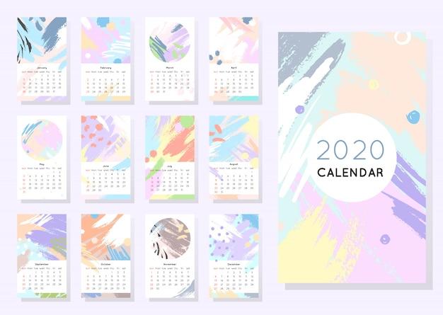 Kalender 2020 met handgetekende vormen en texturen in zachte pastelkleuren. bewerkbare sjabloon in trendy minimalistische stijl. abstract modern design. Premium Vector