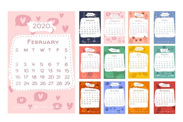 Kalender 2020 met seizoensgebonden elementen Premium Vector