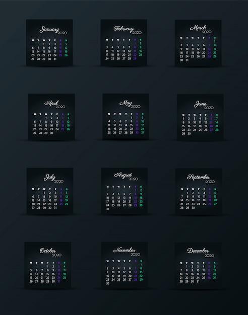 Kalender 2020-sjabloon. 12 maanden. vakantie-evenement opnemen Premium Vector