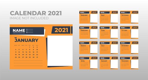 Kalender 2021, bureaukalender-sjabloonontwerp instellen met plaats voor foto Premium Vector