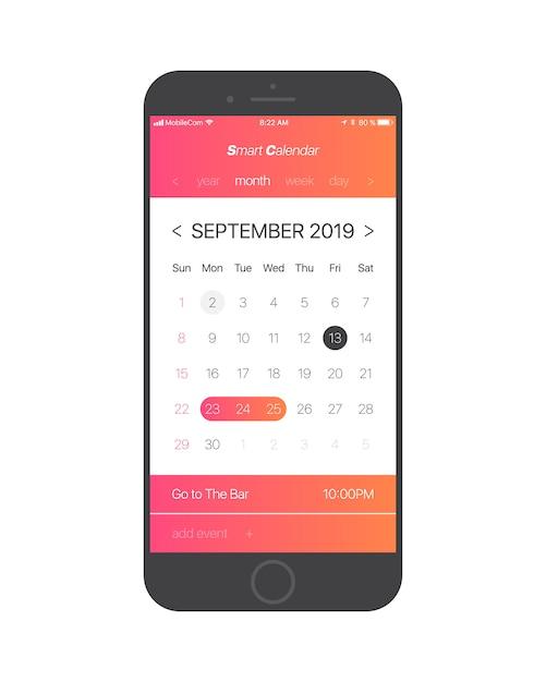 Kalender app ui concept september 2019 pagina Premium Vector