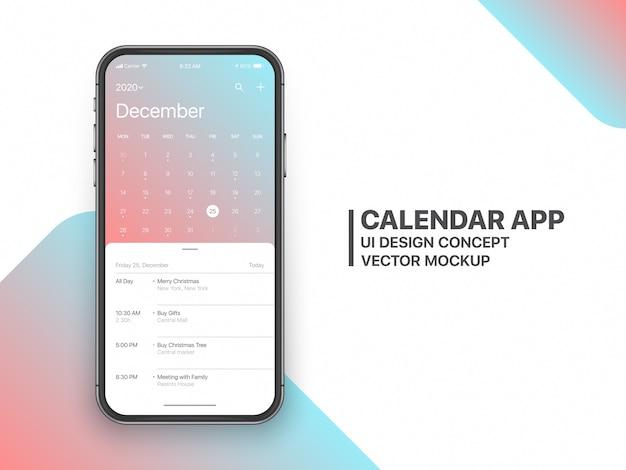 Kalender-app ui ux-concept december 2020-pagina met takenlijst en takenontwerpmodel Premium Vector