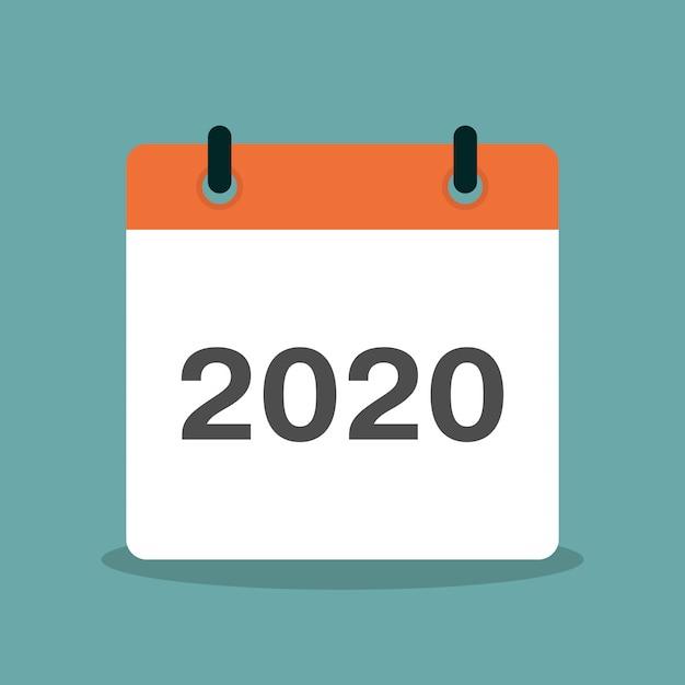 Kalender met jaar 2020 platte ontwerp illustratie Premium Vector
