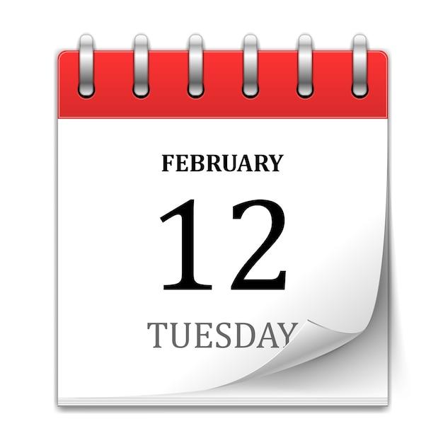Kalender met krulpagina Gratis Vector