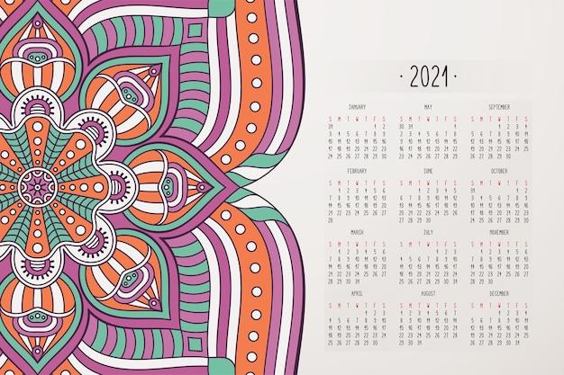 Kalender met mandala's donkere stijl ornament Gratis Vector