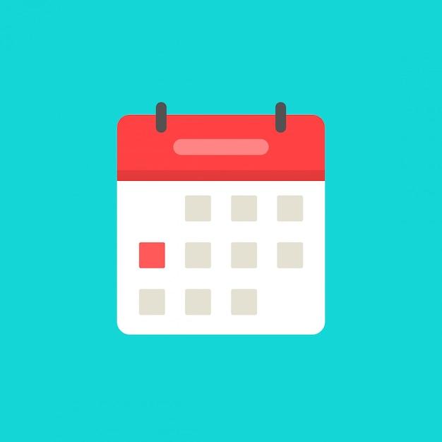 Kalender of agenda pictogram platte cartoon symbool geïsoleerd Premium Vector
