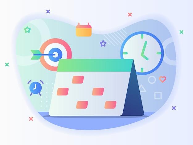 Kalender pictogramachtergrond van alarm pijl klok schema bedrijfsconcept met platte cartoon stijl. Premium Vector