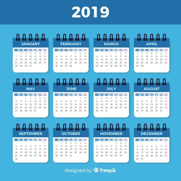 Kalender van 2019 Gratis Vector