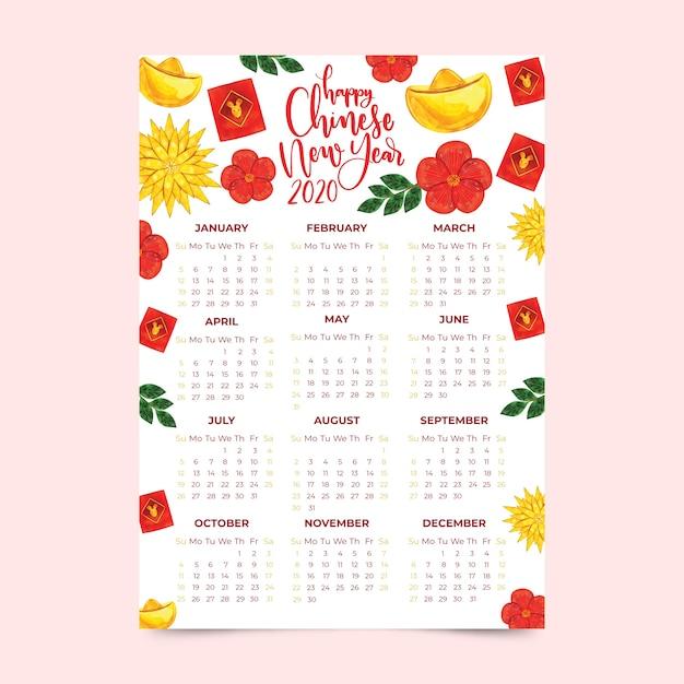 Kalender van het waterverf de chinese nieuwe jaar met bloemen Gratis Vector
