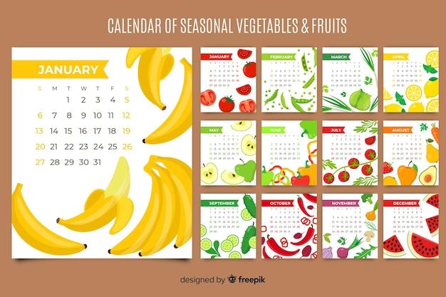 Kalender van seizoensgebonden groenten en fruit Gratis Vector