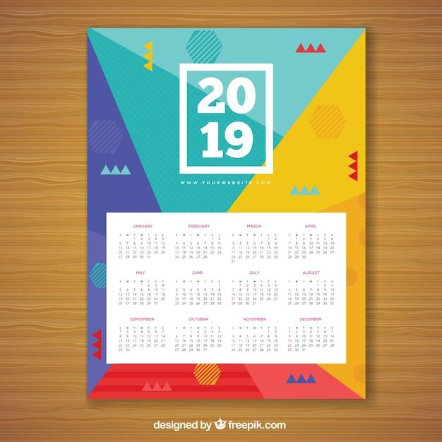 Kalender voor 2019 in memphis-stijl Gratis Vector