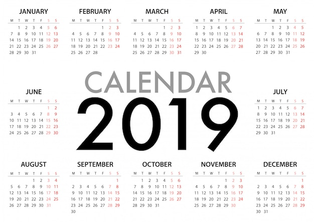 Kalender voor 2019 week begint maandag Premium Vector