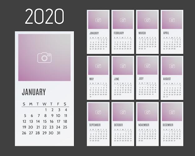 Kalender voor 2020 jaar. week begint vanaf zondag. Premium Vector