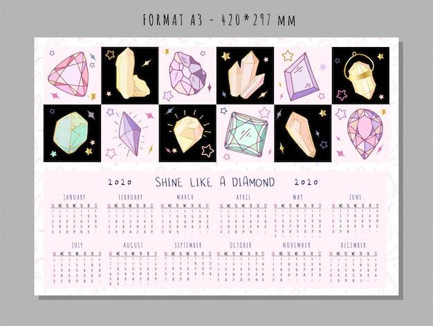 Kalender voor 2020 met gekleurde geometrische kristallen of edelstenen, diamanten sieraden en edelstenen Premium Vector