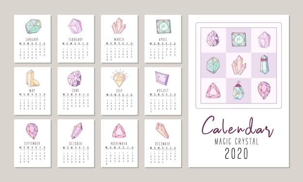 Kalender voor 2020 met kristallen of edelstenen, diamanten sieraden en edelstenen Premium Vector