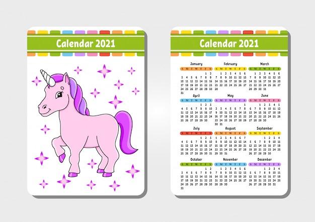 Kalender voor 2021 met een schattig karakter. magische eenhoorn. zak formaat. Premium Vector