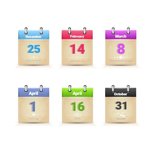 Kalendergegevens paginaverzameling hoofd traditionele holday-dagen geplaatst vlakke vectorillustratie Premium Vector