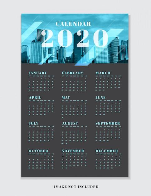 Kalenderplannersjabloon voor 2020. Premium Vector
