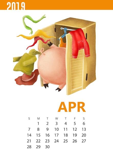 Kalenders illustratie van grappig varken voor april 2019 Premium Vector